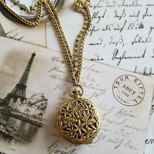 Vintage locket necklace gold tone ornate Victorian